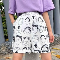 Hot Shorts Korean Ulzzang Female Graffiti Casual  Harajuku Street Funny Graphic Vintage  Elastic Waist Hip Hop Wide Leg AT_43_3