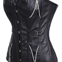 Black Zip Side Accent Leather Corset
