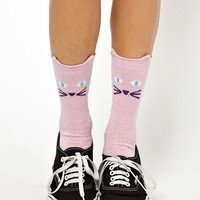 Lazy Oaf Glitty Kitty Ankle Socks