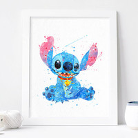 Stitch Disney Watercolor, stitch Art stitch art Lilo and Stitch Art Print, disney decor, Watercolor nursery Print, Disenyland ohana Poster