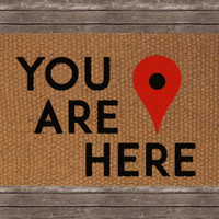 Map Marker You Are Here Doormat, Decorative Area Rug, Hand Painted Hand Woven, Housewarming Gift
