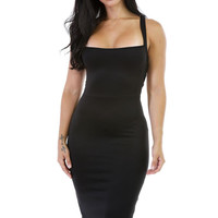 Slip Casual Dress    Sexy Solid Black Midi Dress Bodycon Sleeveless Spaghetti Strap Beach Dress