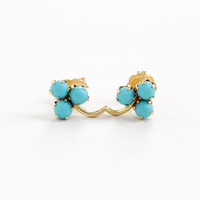 Vintage 14k Yellow Gold Turquoise Clover Earrings - 1940s 1950s Mid-Century Dainty Blue Gemstone Fine Pierced Back Jewelry