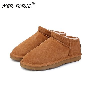 MBR FORCE Women Australia Classic Style  Snow Boots Winter Warm Leather Flats Warterproof High-quality Ankle Boots large size