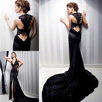 Black V Neck Prom Dress Long 2017 Sexy Prom Gown Mermaid Evening Gown See Through Mermaid Prom Dress Vestido De Fiesta SL-P543