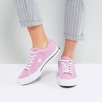 Converse One Star Ox Trainers In Pink Suede at asos.com
