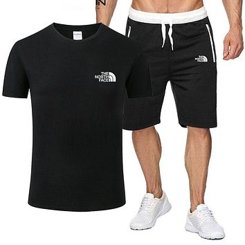 The North Face New fashion letter print top and pants two piece suit men Black