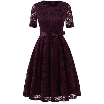Vintage Inspired Full Lace Cocktail Dress, Sizes Small - 3XLarge (Burgundy)