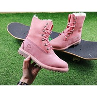 Timberland Authentics Waterproof Fold Down?Shearling Pink Mid Boots Outdoor Sneaker