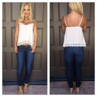 Under Your Spell Crochet Trim Tank - CREAM