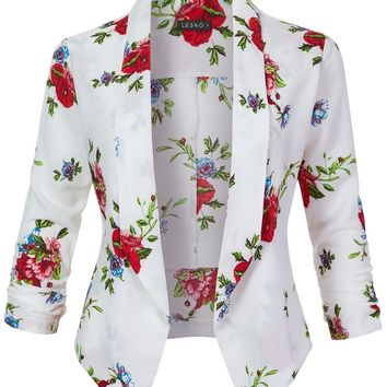 Textured Floral Print  Open Front Ruched 3/4 Sleeve Blazer (CLEARANCE)