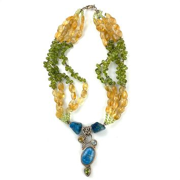 Blue Moonstone, Citrine & Peridot Sterling Silver Necklace