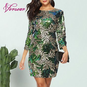 Women Bodycon Dress Sequined Glitter Bling 3/4 Sleeves O Neck Evening Party Casual Mini Dress Elegant Dresses