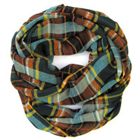Womens Plaid Scarf Doubleloop Scarf Circle Scarf Eternity Scarf Green Rust Teal Gold Teen Scarf Holiday Gift Idea Ready To Ship