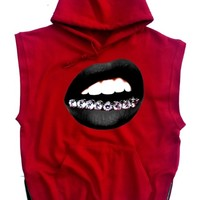 Trill Grill Sleeveless Hoodie (Red) *choose lips color and size