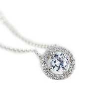 YAN & LEI Hot Sale Sterling Silver Round Cubic Zirconia Halo Pendant Necklace