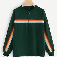 Plus Quarter Zip Rainbow Striped Sweatshirt