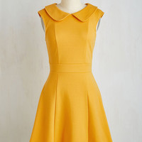 Mid-length Sleeveless A-line Foxtail Fern Dress in Goldenrod