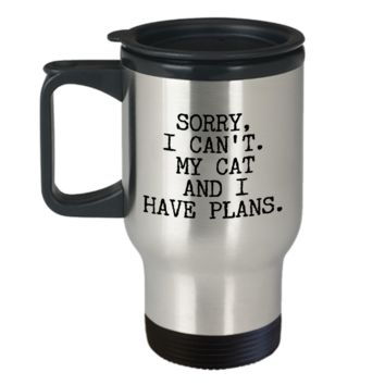 Cat Lover Gifts for Women & Men Sorry I Can't My Cat and I Have Plans Mug Funny Stainlelss Steel Insulated Travel Coffee Cup
