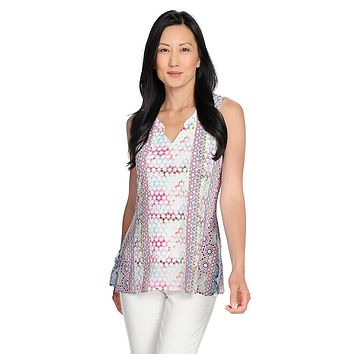 One World Knit & Chiffon Sleeveless Henley Neck Top
