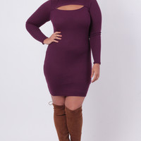 Plus Size Ribbed Cut-Out Dress - Eggplant