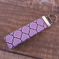 CLEARANCE Ready To Ship Purple Lavender Gray Fob Wristlet Key Chain Fabric Key Chain