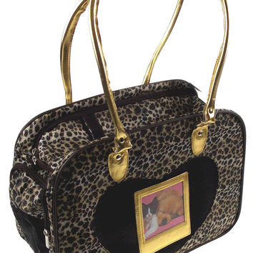 Pet Carrier Travel Bag Leopard Gold Softsided Shoulder Tote Airline Approved