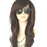 MelodySusie® Dark Brown Curly Wig - High Quality Glamorous Women Long Curly Wig with Free Wig Cap and Wig Comb (Dark Brown)