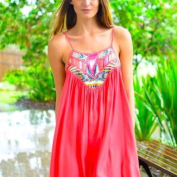 Coral Scoop Neck Dress with Embroidered Print Top Detail