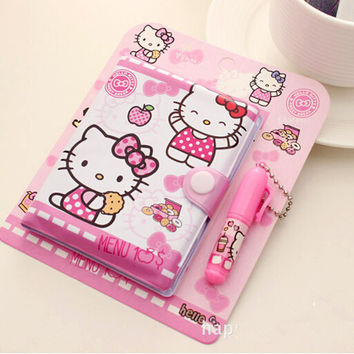 12*14.5cm Cute Hello Kitty Notebook with Ballpoint Pen Notepad Diary Book Exercise Book Escolar Papelaria School Office Supply
