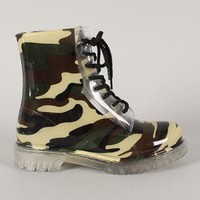 Qupid Portland-01 Jelly Camouflage Lace Up Rain Boot