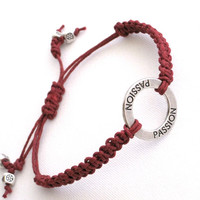 Friendship Bracelet, Charm, Silver, Maroon, Adjustable
