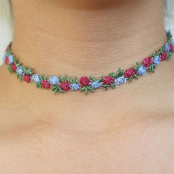 20% OFF SPRING SALE- 90's soft grunge inspired Choker with flowers, Choker with roses, Multicolored roses, spring boho, pastel choker