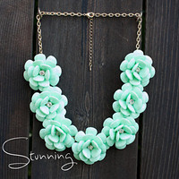Flower Necklace in Mint  Rose Necklace  J. Crew by PureStunning