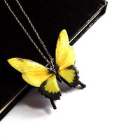 Yellow butterfly necklace-butterfly necklace-butterfly jewelry-Free Shipping Worldwide-Mothers day gift-summer jewelry