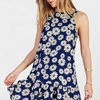 Lucca Couture Floral Drop-Waist Dress- Navy