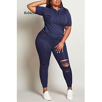 Plus Size S-5XL Spring Summer Women Sets Tracksuits Short Sleeve Top Pants Suit Two Piece Set Sporty Fitness Outfits Rebicoo