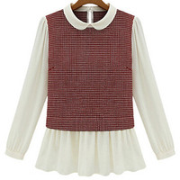 Plaid Peter Pan Collar Long Sleeve Ruffled Bottom Chiffon Top