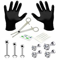 BodyJ4You Professional Body Piercing Kit 15 Pieces for Labret Studs Heart CZ Tragus Barbell 16G (1.2mm)