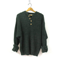 20% OFF SALE. vintage slouchy sweater. oversized green knit sweater. henley pullover shirt.