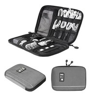 BAGSMART Travel Universal Cable Organizer Electronics Accessories Cases For Various USB, Phone, Charge and Cable Grey