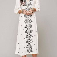 White Floral Embroidered Maxi Dress