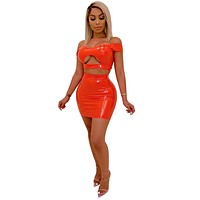 Sexy Light PU Solid Two Piece Set Hollow Out Off Shoulder Crop Top With Mini Skirts Bodycon Women Outfit Night Club Women Set