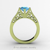 14K Green Gold New Fashion Design Solitaire 1.0 CT Blue Topaz Bridal Wedding Ring, Engagement Ring R26A-14KGGBT