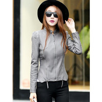 Women PU Black Plus Size Leather Jacket