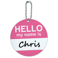 Chris Hello My Name Is Round ID Card Luggage Tag