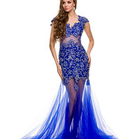 Royal Illusion Two Piece Detailed Gown 2015 Prom Dresses