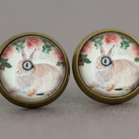 Fake Plugs Stud Earrings : Adorable Bunny Rabbit Wearing a Monocle, Earrings, Cute, Wildlife, Animals Wearing Clothes