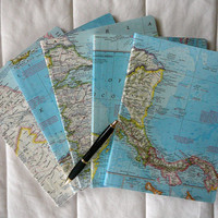 Vintage Map Covered Composition Notebook-College ruled