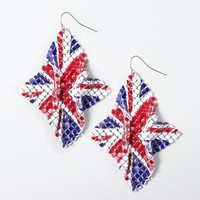 Red, White and Blue Union Jack Metal Mesh Drop Earrings – Claire's